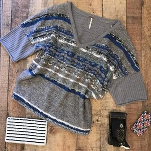 Free People Gray Blue Sequined Sweater